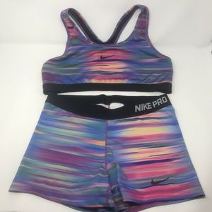 Nike Pro Dri Fit Shorts & Sports Bra Set